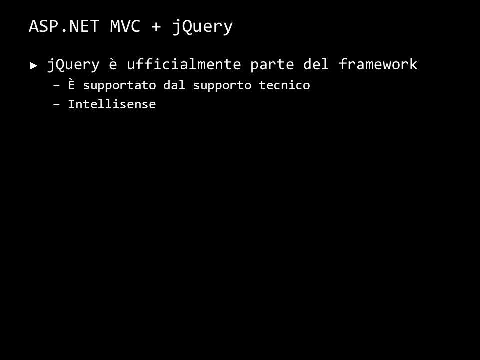 ASP.NET MVC + jQuery jQuery è ufficialmente parte del framework –È supportato dal supporto tecnico –Intellisense 43