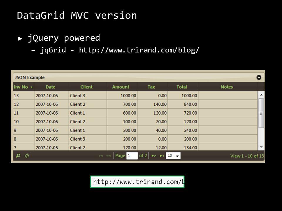 jQuery powered –jqGrid - http://www.trirand.com/blog/ 46 http://www.trirand.com/blog/