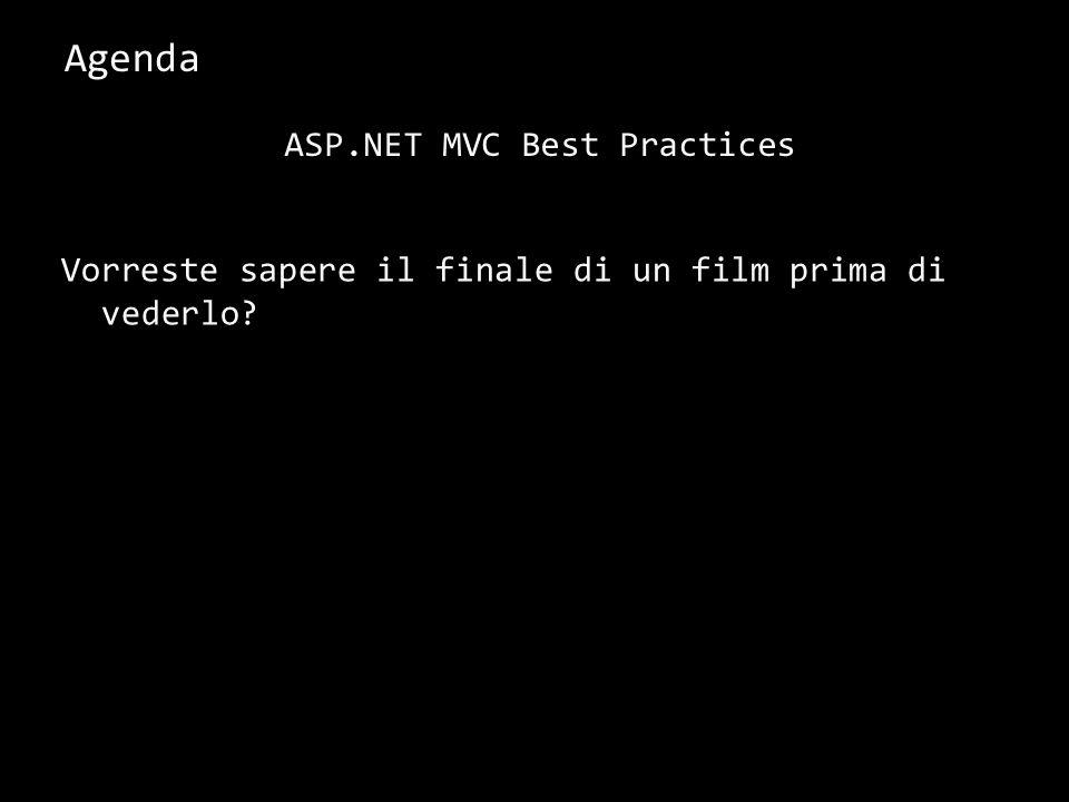 Agenda Vorreste sapere il finale di un film prima di vederlo? 3 ASP.NET MVC Best Practices