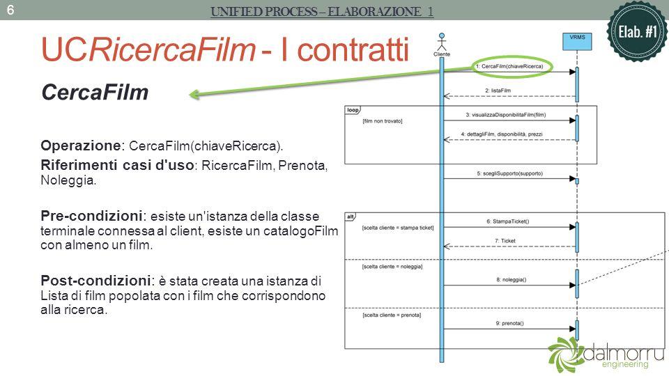 UCRicercaFilm - I contratti VisualizzaFilm Operazione : visualizzaFilm(IDFilm) Riferimenti casi d uso : RicercaFilm, Noleggia, Prenota Pre-condizioni : si conosce l ID del film da visualizzare, l istanza del film con tale ID è presente sul client, il magazzino è avviato.
