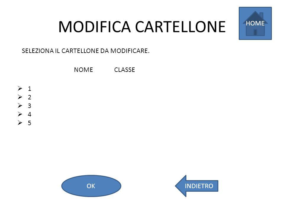 MODIFICA CARTELLONE 1 2 3 4 5 SELEZIONA IL CARTELLONE DA MODIFICARE. HOME INDIETROOK NOMECLASSE