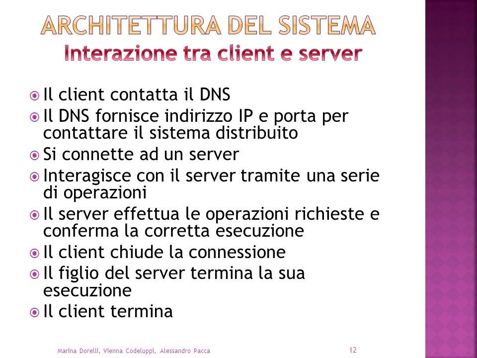Il client contatta il DNS Il DNS fornisce indirizzo IP e porta per contattare il sistema distribuito Si connette ad un server Interagisce con il serve