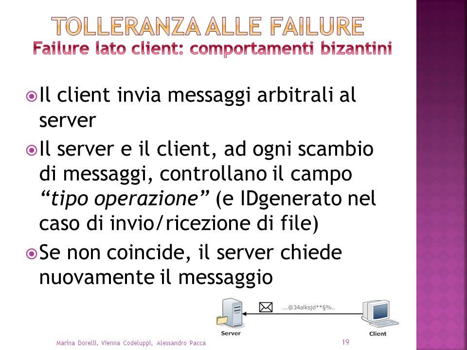Il client invia messaggi arbitrali al server Il server e il client, ad ogni scambio di messaggi, controllano il campo tipo operazione (e IDgenerato ne