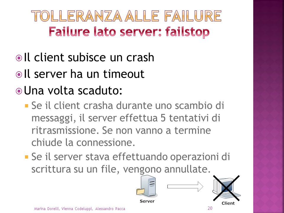Il client subisce un crash Il server ha un timeout Una volta scaduto: Se il client crasha durante uno scambio di messaggi, il server effettua 5 tentat