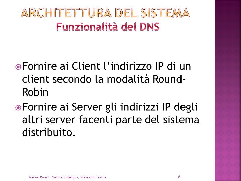 Fornire ai Client lindirizzo IP di un client secondo la modalità Round- Robin Fornire ai Server gli indirizzi IP degli altri server facenti parte del