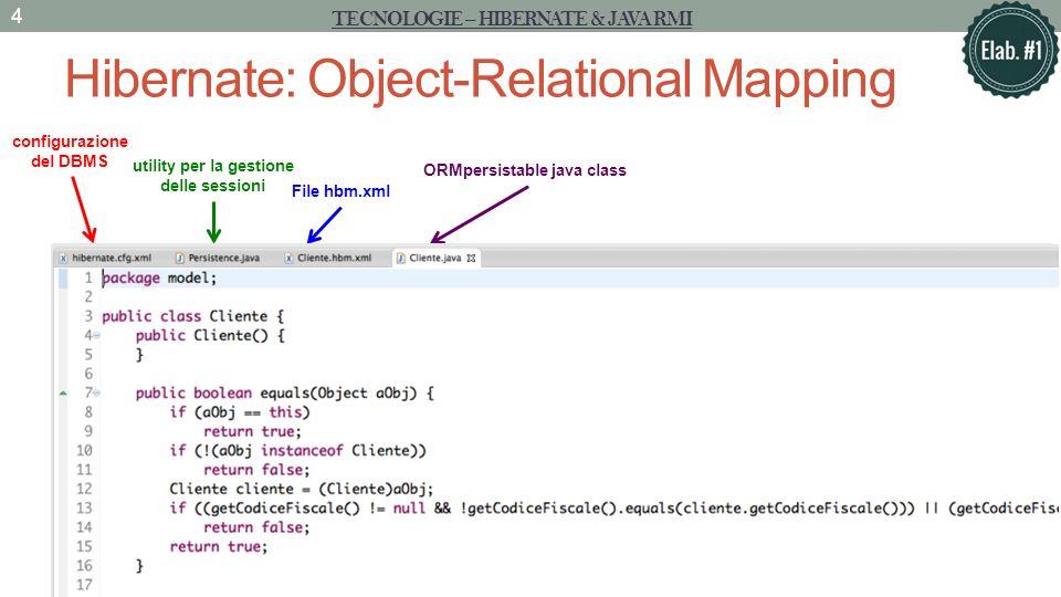 Hibernate: Object-Relational Mapping TECNOLOGIE – HIBERNATE & JAVA RMI 4 configurazione del DBMS utility per la gestione delle sessioni File hbm.xml ORMpersistable java class