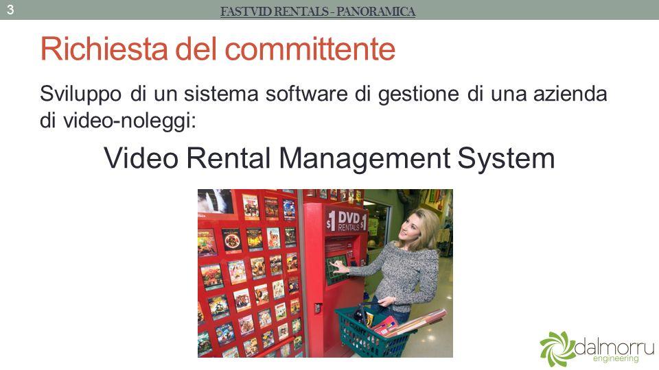 Richiesta del committente Sviluppo di un sistema software di gestione di una azienda di video-noleggi: Video Rental Management System FASTVID RENTALS