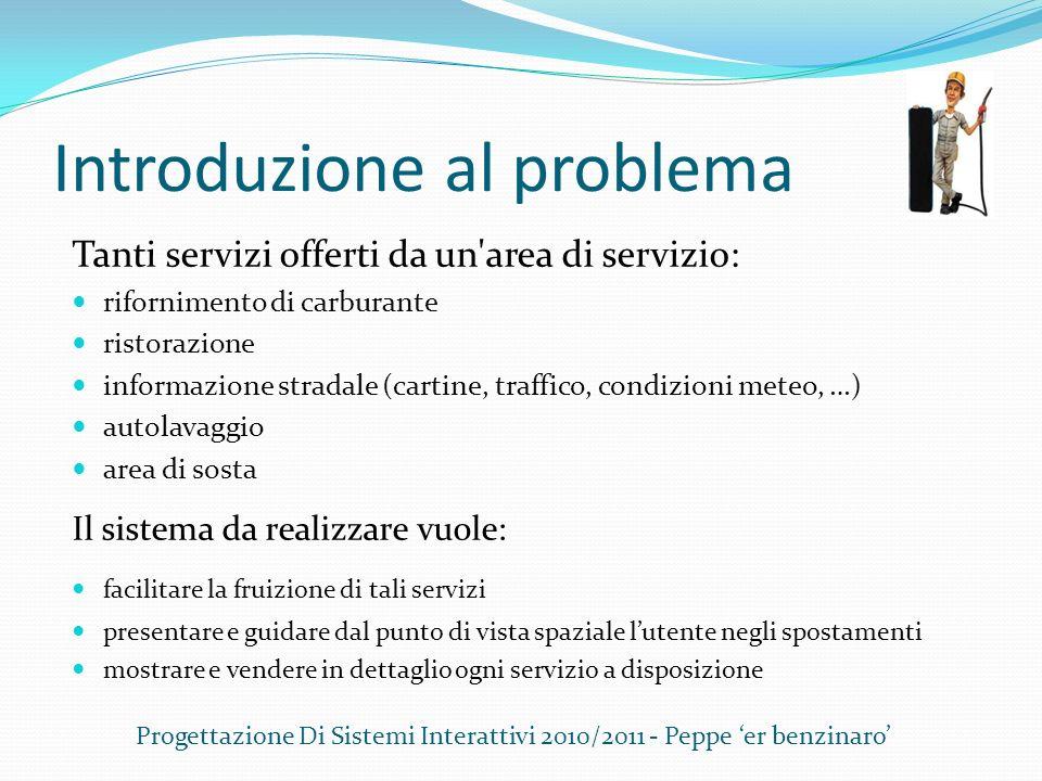Introduzione al problema Tanti servizi offerti da un'area di servizio: rifornimento di carburante ristorazione informazione stradale (cartine, traffic