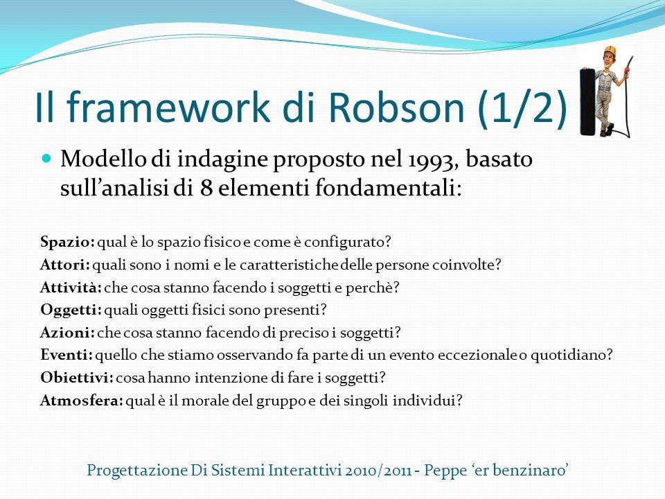 Il framework di Robson (1/2) Modello di indagine proposto nel 1993, basato sullanalisi di 8 elementi fondamentali: Spazio: qual è lo spazio fisico e c