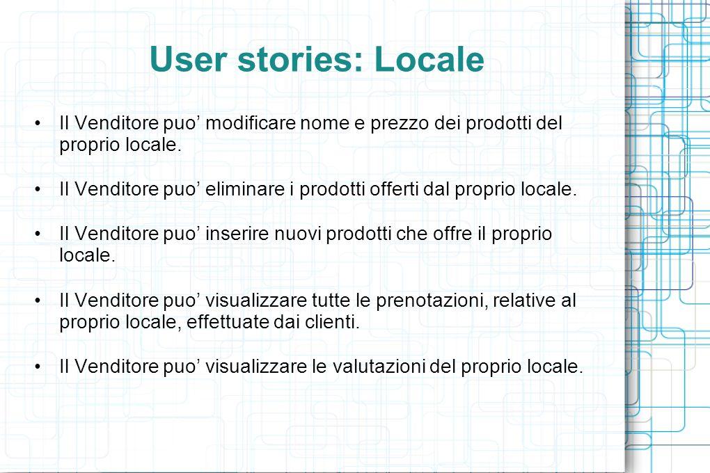 User stories: Locale Il Venditore puo modificare nome e prezzo dei prodotti del proprio locale.