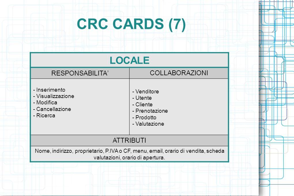 CRC CARDS (7) LOCALE RESPONSABILITA COLLABORAZIONI - Inserimento - Visualizzazione - Modifica - Cancellazione - Ricerca - Venditore - Utente - Cliente - Prenotazione - Prodotto - Valutazione ATTRIBUTI Nome, indirizzo, proprietario, P.IVA o CF, menu, email, orario di vendita, scheda valutazioni, orario di apertura.