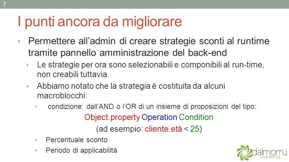 I punti ancora da migliorare Permettere alladmin di creare strategie sconti al runtime tramite pannello amministrazione del back-end Le strategie per ora sono selezionabili e componibili al run-time, non creabili tuttavia Abbiamo notato che la strategia è costituita da alcuni macroblocchi: condizione: dallAND o lOR di un insieme di proposizioni del tipo: Object.property Operation Condition (ad esempio: cliente.età < 25) Percentuale sconto Periodo di applicabilità 7