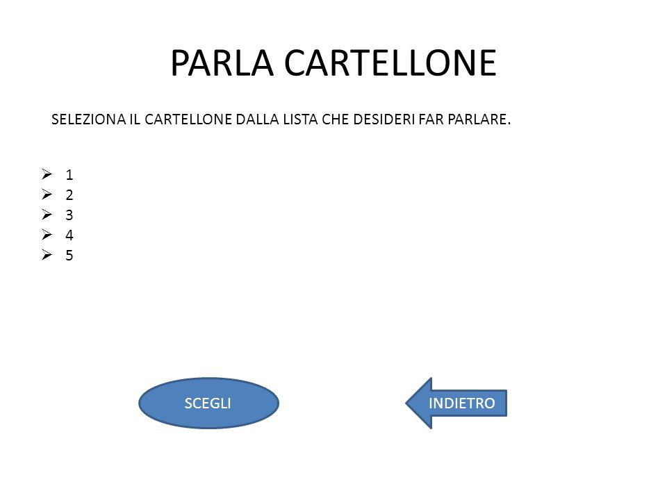 PARLA CARTELLONE 1 2 3 4 5 SELEZIONA IL CARTELLONE DALLA LISTA CHE DESIDERI FAR PARLARE.