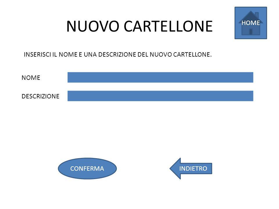 NUOVO CARTELLONE INDIETROCONFERMA HOME INSERISCI IL NOME E UNA DESCRIZIONE DEL NUOVO CARTELLONE.