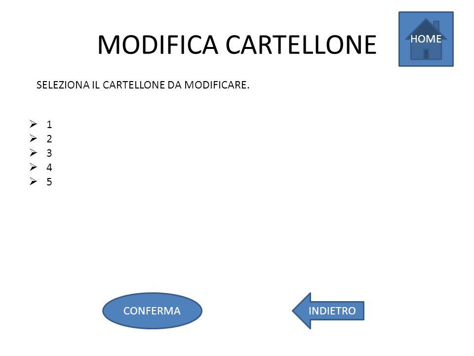 MODIFICA CARTELLONE 1 2 3 4 5 SELEZIONA IL CARTELLONE DA MODIFICARE. HOME INDIETROCONFERMA