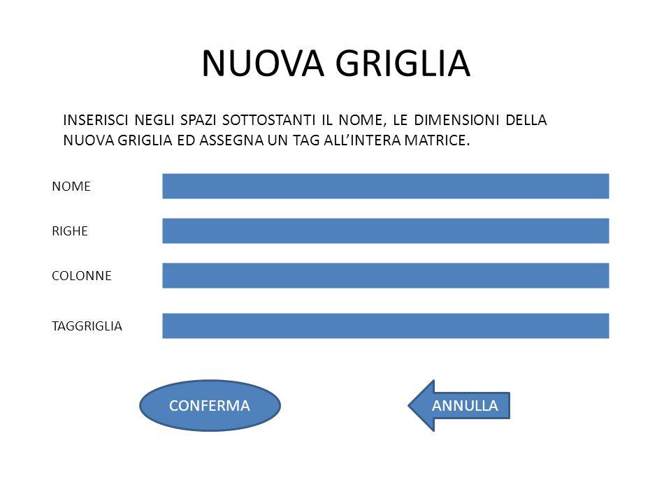 NUOVA GRIGLIA ANNULLACONFERMA RIGHE INSERISCI NEGLI SPAZI SOTTOSTANTI IL NOME, LE DIMENSIONI DELLA NUOVA GRIGLIA ED ASSEGNA UN TAG ALLINTERA MATRICE.