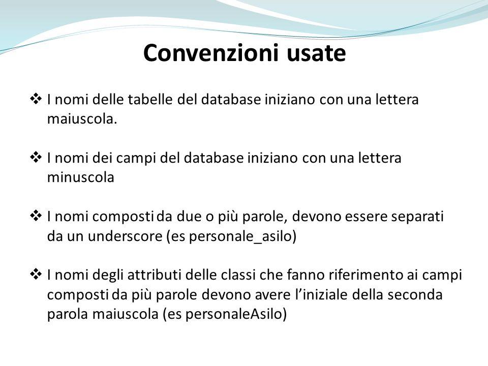 Convenzioni usate I nomi delle tabelle del database iniziano con una lettera maiuscola. I nomi dei campi del database iniziano con una lettera minusco