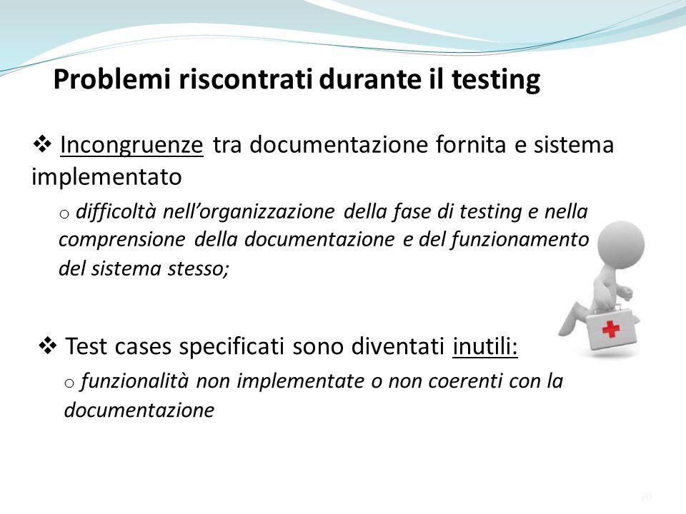 Problemi riscontrati durante il testing Incongruenze tra documentazione fornita e sistema implementato o difficoltà nellorganizzazione della fase di t