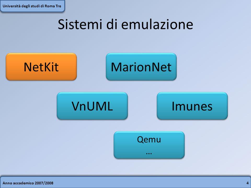 Anno accademico 2007/20084 Università degli studi di Roma Tre Sistemi di emulazione NetKit VnUML Imunes MarionNet Qemu … Qemu …
