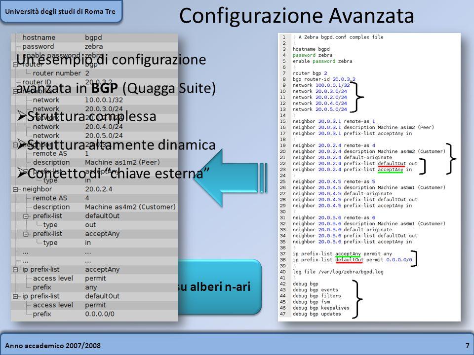 Anno accademico 2007/20087 Università degli studi di Roma Tre Configurazione Avanzata Modello gerarchico basato su alberi n-ari Un esempio di configurazione avanzata in BGP (Quagga Suite) Struttura complessa Struttura altamente dinamica Concetto di chiave esterna