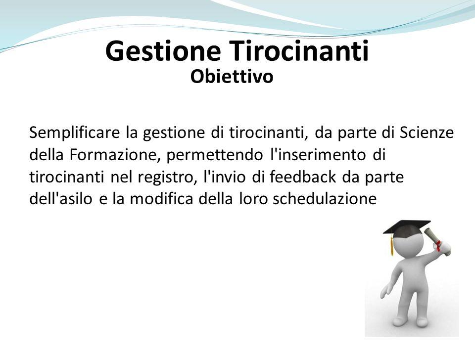 Obiettivo Semplificare la gestione di tirocinanti, da parte di Scienze della Formazione, permettendo l'inserimento di tirocinanti nel registro, l'invi