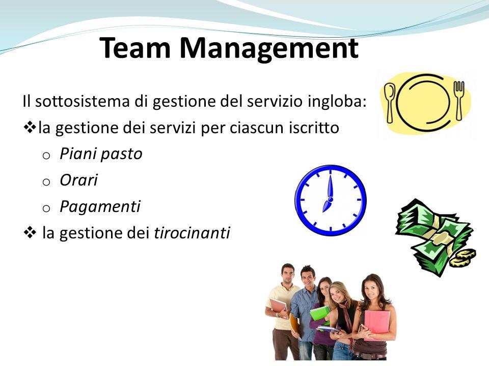 Il sottosistema di gestione del servizio ingloba: la gestione dei servizi per ciascun iscritto o Piani pasto o Orari o Pagamenti la gestione dei tiroc