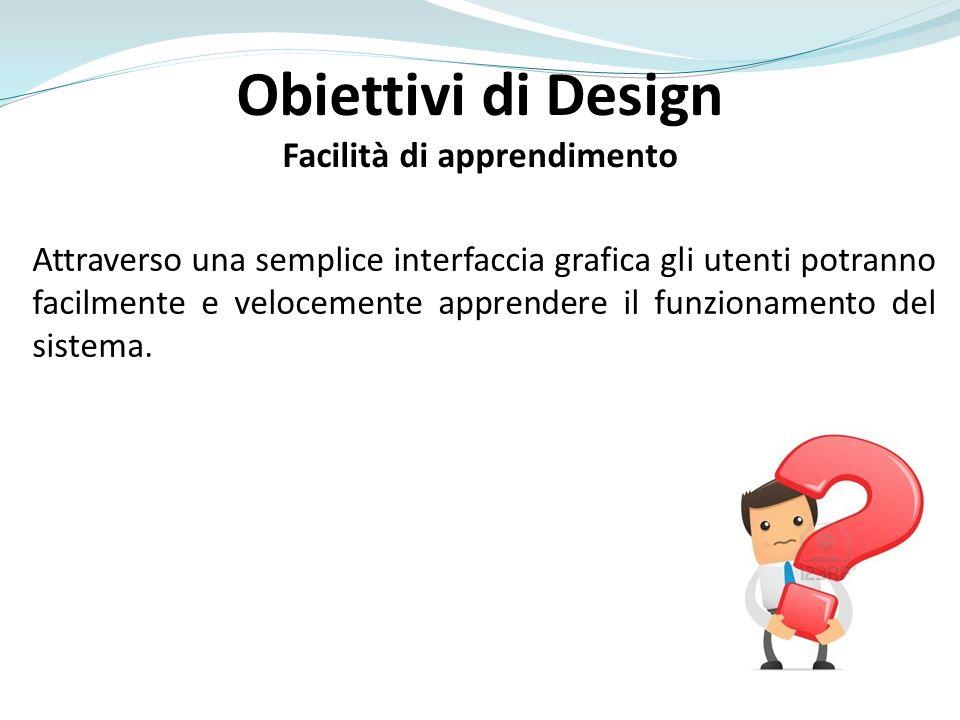 Obiettivi di Design Facilità di apprendimento Attraverso una semplice interfaccia grafica gli utenti potranno facilmente e velocemente apprendere il f