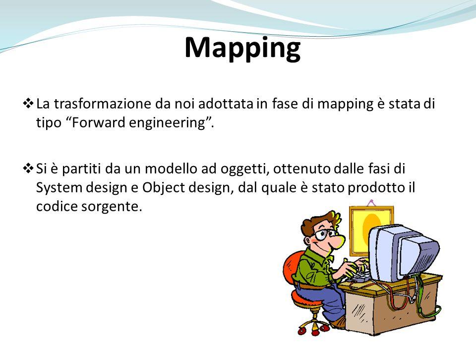 Mapping La trasformazione da noi adottata in fase di mapping è stata di tipo Forward engineering. Si è partiti da un modello ad oggetti, ottenuto dall