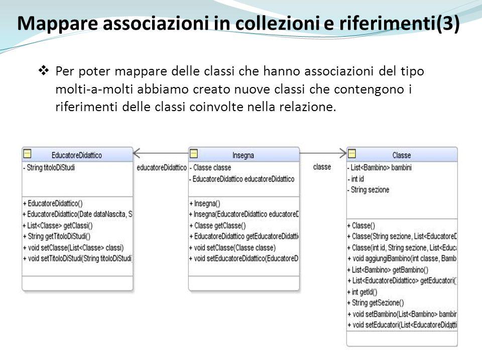Mappare associazioni in collezioni e riferimenti(3) Per poter mappare delle classi che hanno associazioni del tipo molti-a-molti abbiamo creato nuove