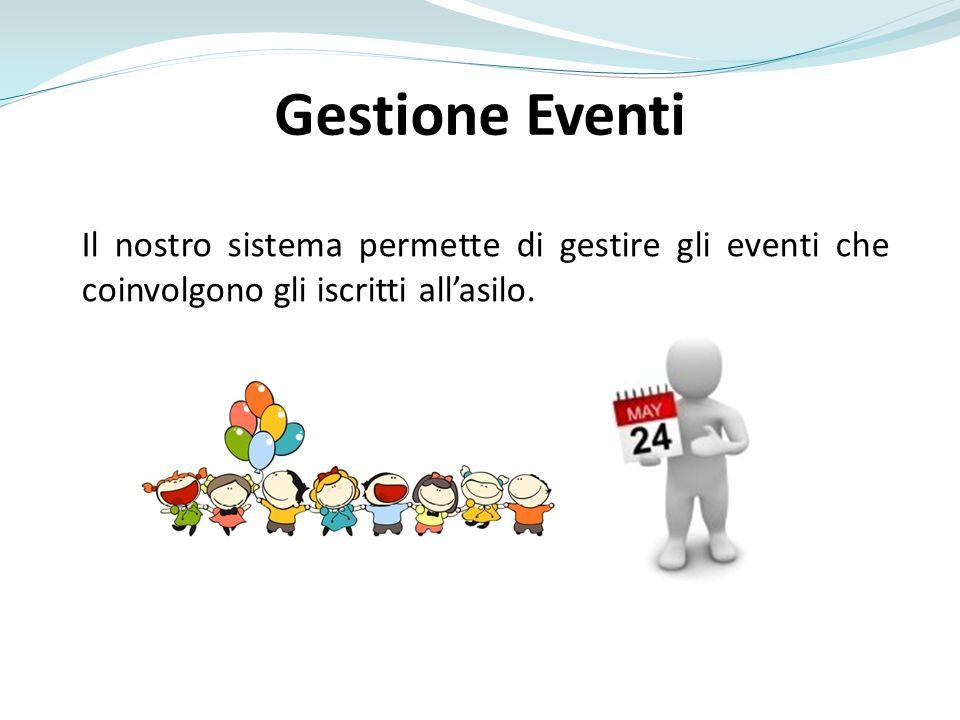 Gestione Eventi Il nostro sistema permette di gestire gli eventi che coinvolgono gli iscritti allasilo.