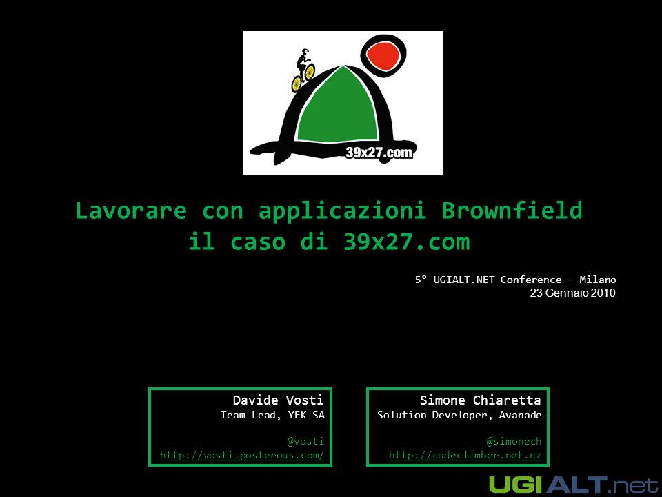 Chi siamo Simone Chiaretta –Lavora per Avanade Italy –Microsoft MVP ASP.NET e ASP Insider –Blogger – http://codeclimber.net.nzhttp://codeclimber.net.nz –Co-fondatore di UGIALT.NET –Climber Davide Vosti –Team Lead di YEK SA –Owner di http://39x27.comhttp://39x27.com –Ciclista, podista, parapendista