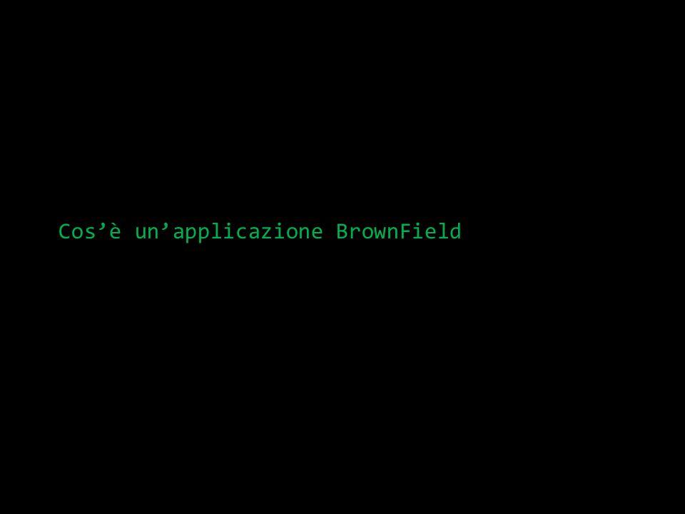 Definizione di BrownField Brown Field è lopposto di Green Field aka progetti Legacy o, come dicono alcuni: Applicazione non pensata per essere testabile Tutti i progetti non nuovi sono brownfield Tutte le applicazioni tendono naturalmente a diventare brownfield