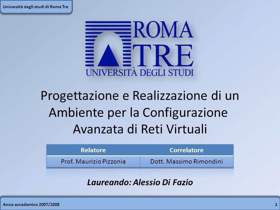 Anno accademico 2007/200812 Università degli studi di Roma Tre VisualNetkit: creazione di un Lab Scena grafica Struttura file system Miniatura e Zoom Log del sistema Lista elementi Editor delle proprietà Tool Bars