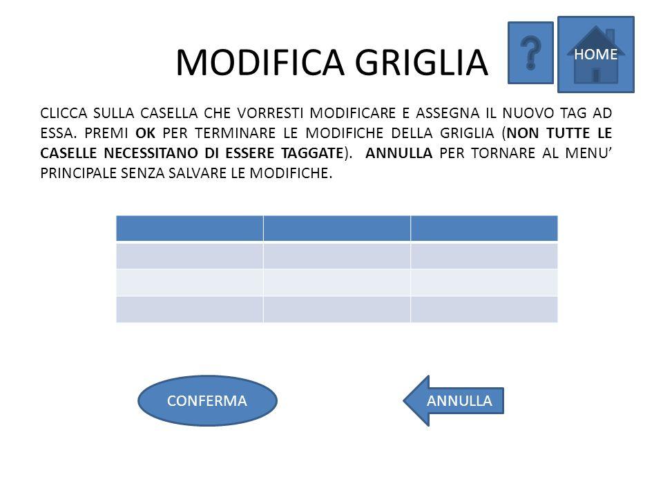 LISTA GRIGLIE 1 2 3 4 5 SELEZIONA LA GRIGLIA DALLA LISTA CHE DESIDERI MODIFICARE. INDIETROELIMINA