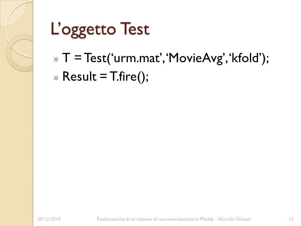 Loggetto Test » T = Test(urm.mat, MovieAvg, kfold); » Result = T.fire(); 20/12/201012Realizzazione di un sistema di raccomandazione in Matlab - Niccolò Olivieri