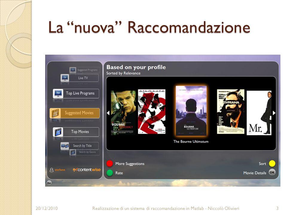 La nuova Raccomandazione 20/12/20103Realizzazione di un sistema di raccomandazione in Matlab - Niccolò Olivieri