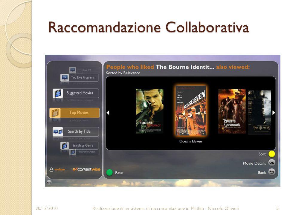 Raccomandazione Collaborativa 20/12/20105Realizzazione di un sistema di raccomandazione in Matlab - Niccolò Olivieri