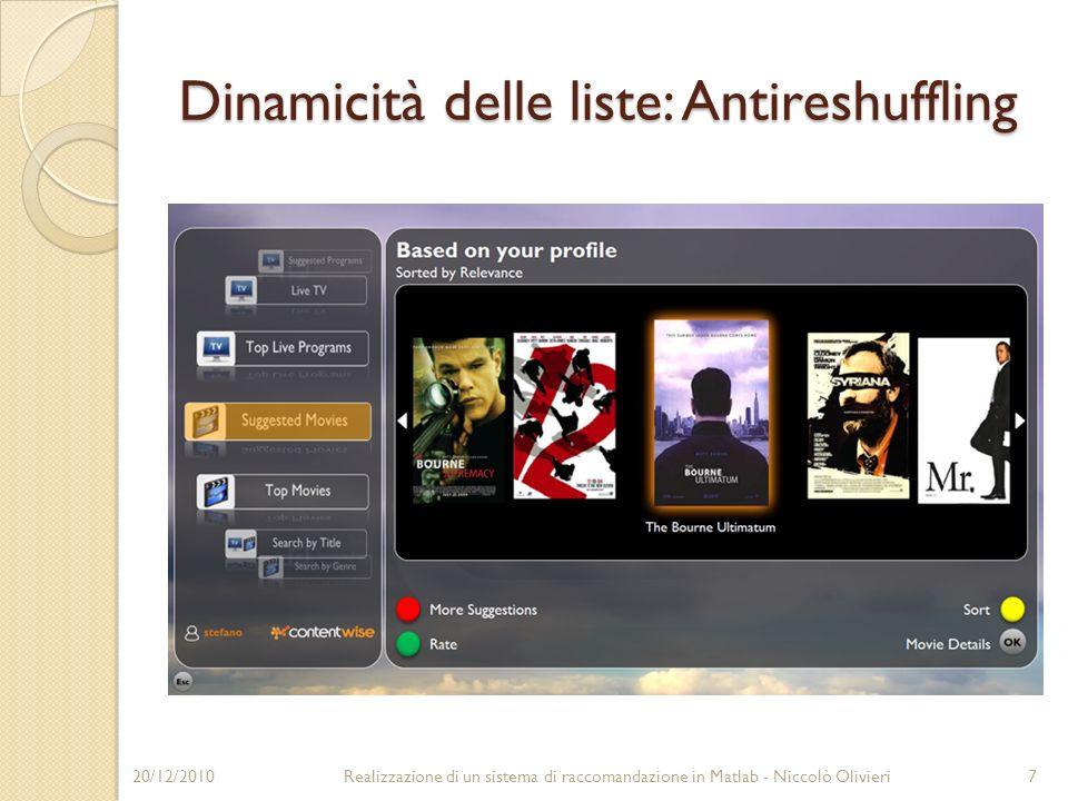 Dinamicità delle liste: Antireshuffling 20/12/20107Realizzazione di un sistema di raccomandazione in Matlab - Niccolò Olivieri