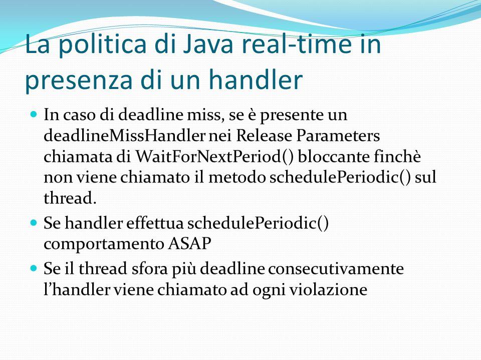 La politica di Java real-time in presenza di un handler In caso di deadline miss, se è presente un deadlineMissHandler nei Release Parameters chiamata