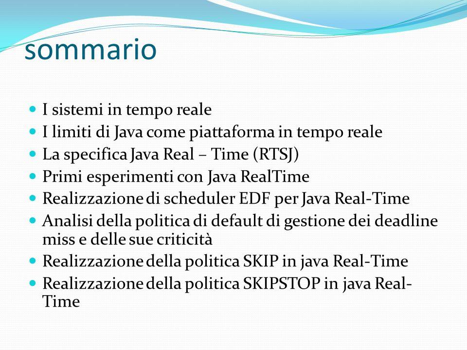 sommario I sistemi in tempo reale I limiti di Java come piattaforma in tempo reale La specifica Java Real – Time (RTSJ) Primi esperimenti con Java Rea