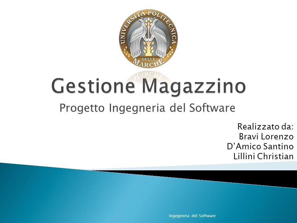 Progetto Ingegneria del Software Ingegneria del Software Realizzato da: Bravi Lorenzo DAmico Santino Lillini Christian