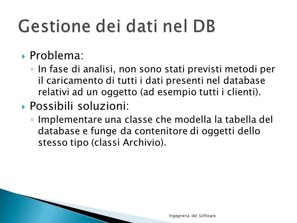 Problema: In fase di analisi, non sono stati previsti metodi per il caricamento di tutti i dati presenti nel database relativi ad un oggetto (ad esempio tutti i clienti).