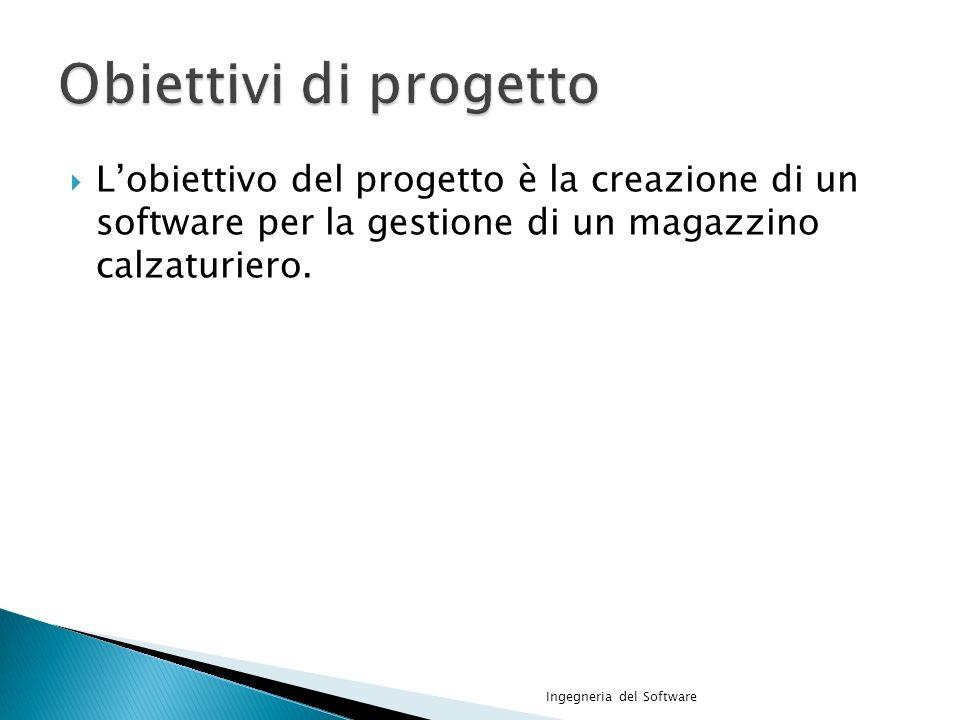 Lobiettivo del progetto è la creazione di un software per la gestione di un magazzino calzaturiero.
