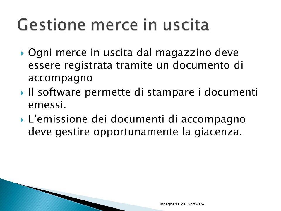Ogni merce in uscita dal magazzino deve essere registrata tramite un documento di accompagno Il software permette di stampare i documenti emessi.
