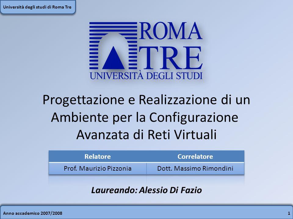 Anno accademico 2007/200812 Università degli studi di Roma Tre VisualNetkit: altre caratteristiche Portabilità: Linux – Windows (XP/Vista) – Mac OSXEditor testuale con Syntax Highlighting Grafica basata su SVG