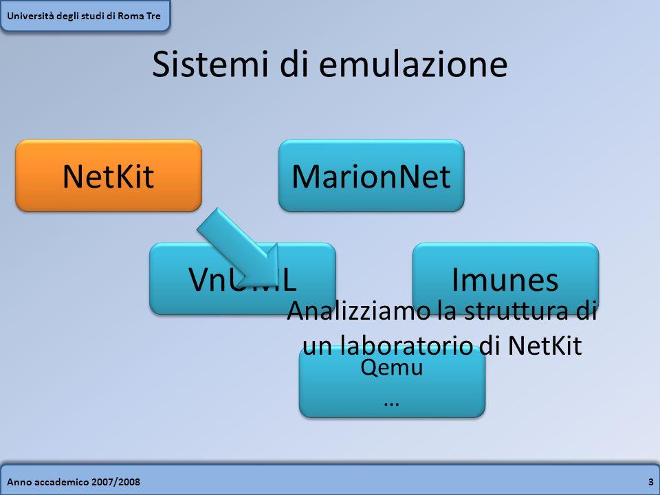 Anno accademico 2007/20083 Università degli studi di Roma Tre Sistemi di emulazione NetKit VnUML Imunes MarionNet Qemu … Qemu … Analizziamo la struttu