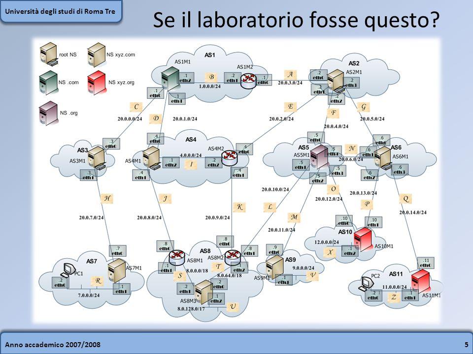 Anno accademico 2007/20086 Università degli studi di Roma Tre Ambienti di configurazione Assistono lutente durante la creazione di un laboratorio Forniscono uninterfaccia grafica intuitiva Lutente ha un feedback visivo Modifiche alla topologia di rete rapide
