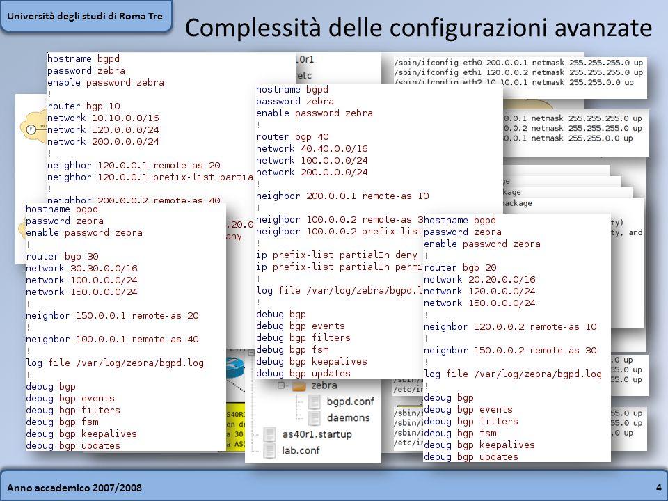 Anno accademico 2007/20084 Università degli studi di Roma Tre Complessità delle configurazioni avanzate