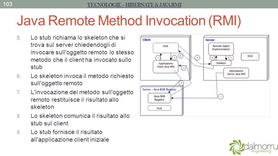 Java Remote Method Invocation (RMI) 5. Lo stub richiama lo skeleton che si trova sul server chiedendogli di invocare sull'oggetto remoto lo stesso met