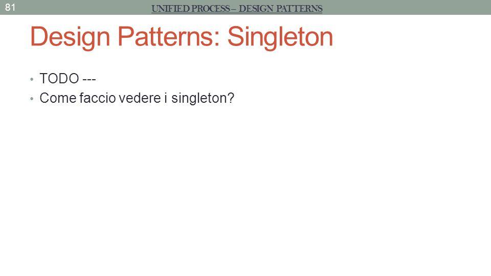 Design Patterns: Singleton TODO --- Come faccio vedere i singleton? 81 UNIFIED PROCESS – DESIGN PATTERNS